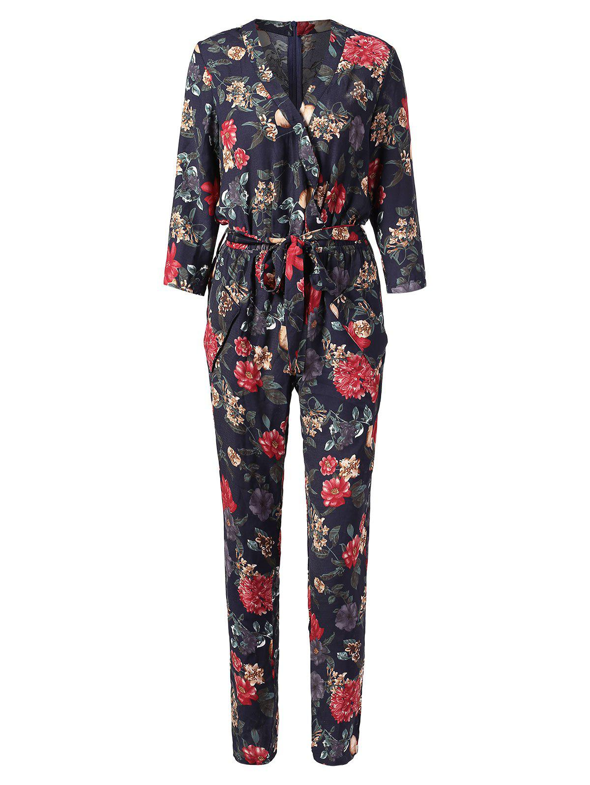 Cheap Floral Print Surplice Jumpsuit