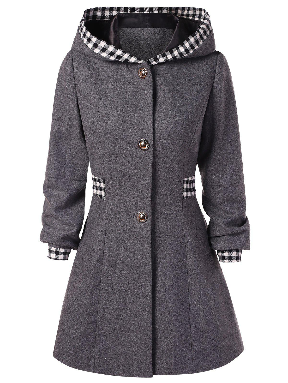 Hot Checked Hooded Woolen Coat
