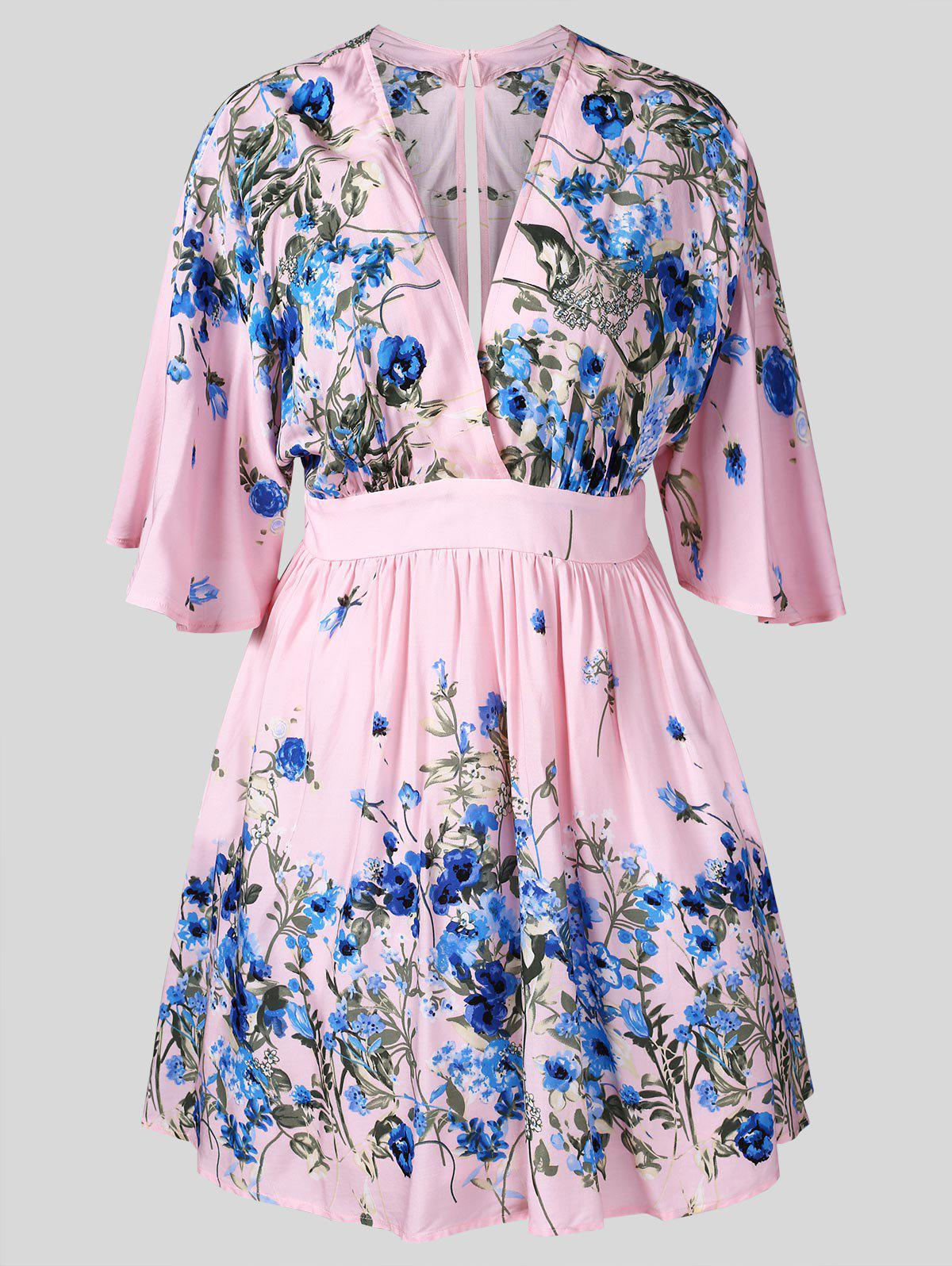 Discount Floral Print Half Sleeve Surplice Dress