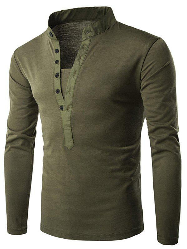 Cheap Stand Collar Long Sleeve Solid T-shirt