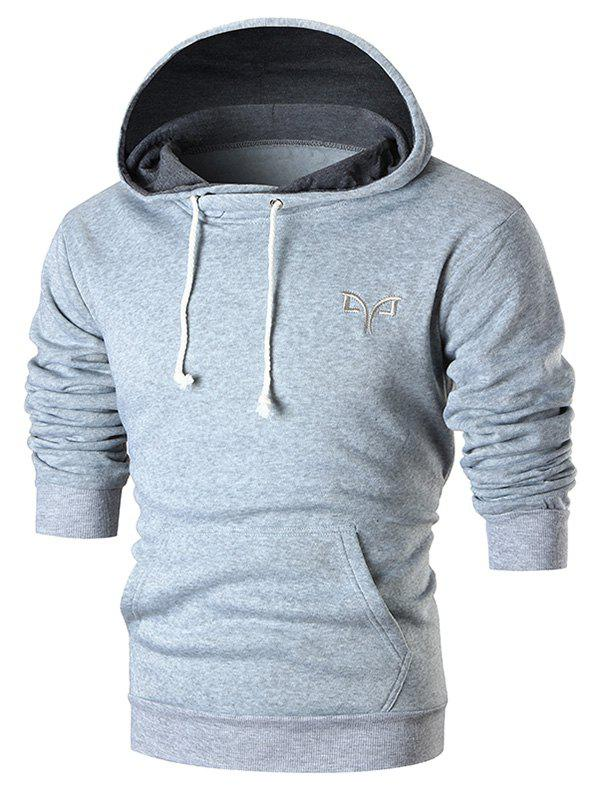 Outfit Embroidery Logo Solid Drawstring Hoodie