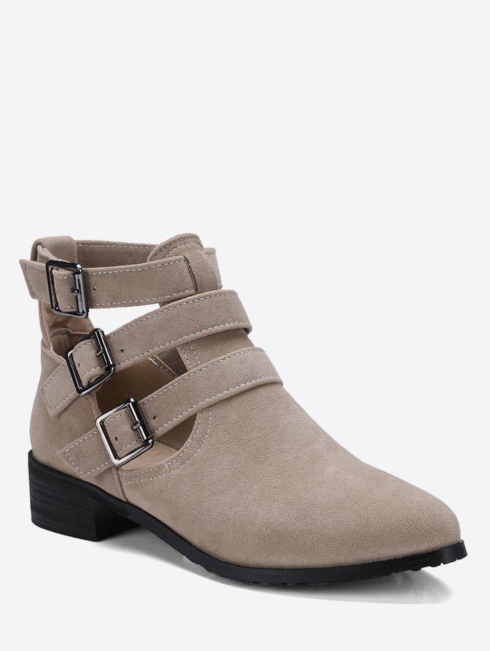 Cheap Plus Size Cut Out Buckle Strap Suede Boots