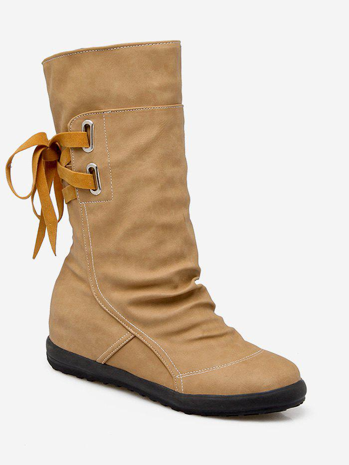 Shops Plus Size Ruched Flat Heel Mid Calf Boots