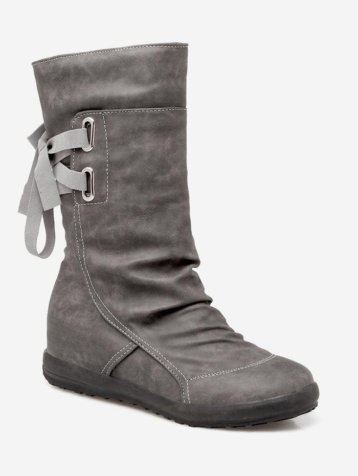 Chic Plus Size Ruched Flat Heel Mid Calf Boots