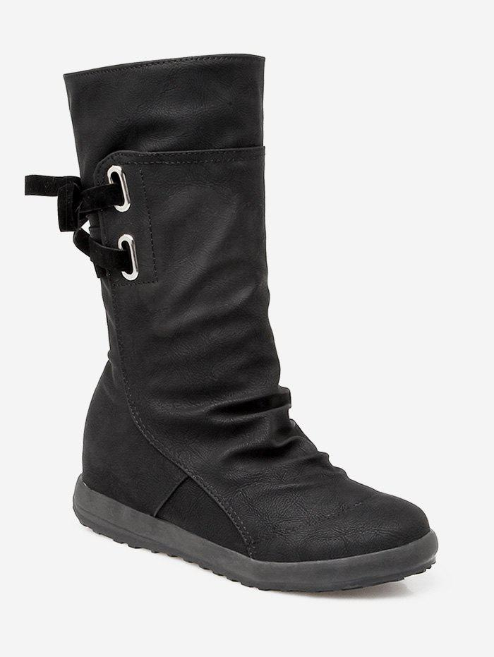Hot Plus Size Ruched Flat Heel Mid Calf Boots