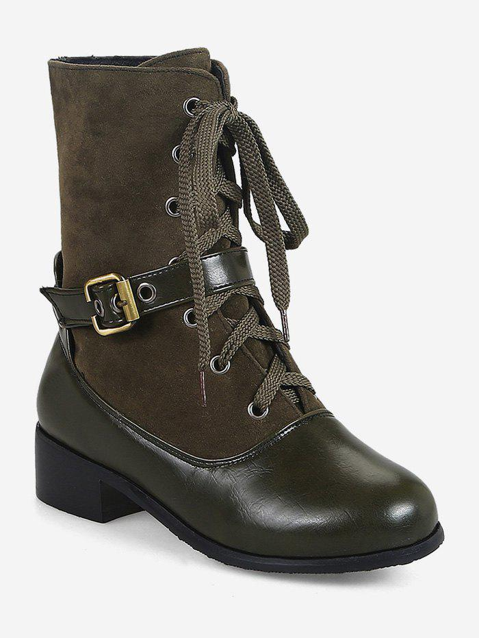 Discount Plus Size Buckle Mid Heel Mid Calf Boots