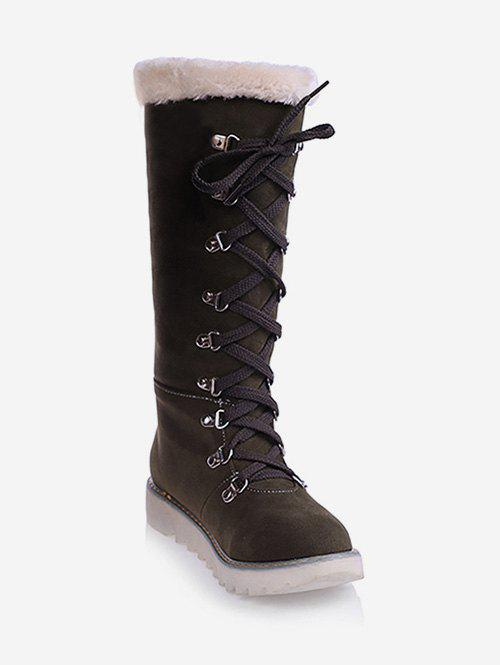 Fashion Plus Size Lacing Faux Fur Snow Knee High Boots