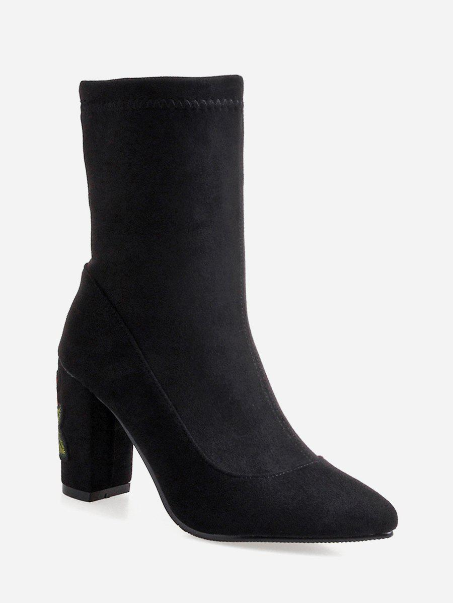 Shops Plus Size Embroidered Chunky Heel Mid Calf Boots