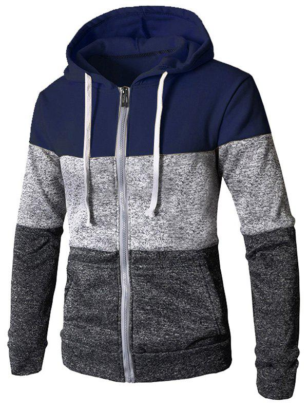 Affordable Zip Up Casual Color Block Pockets Hoodie