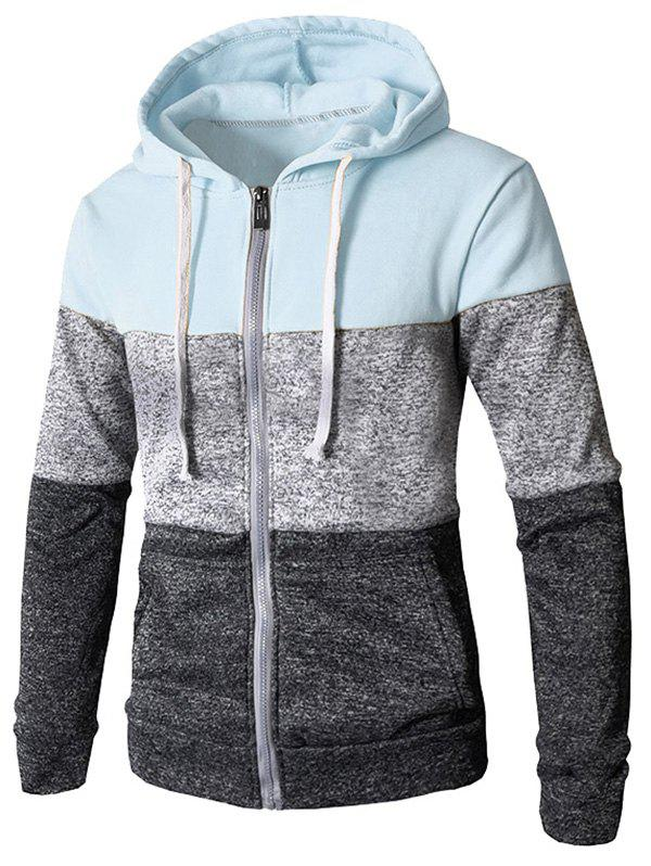 Chic Zip Up Casual Color Block Pockets Hoodie