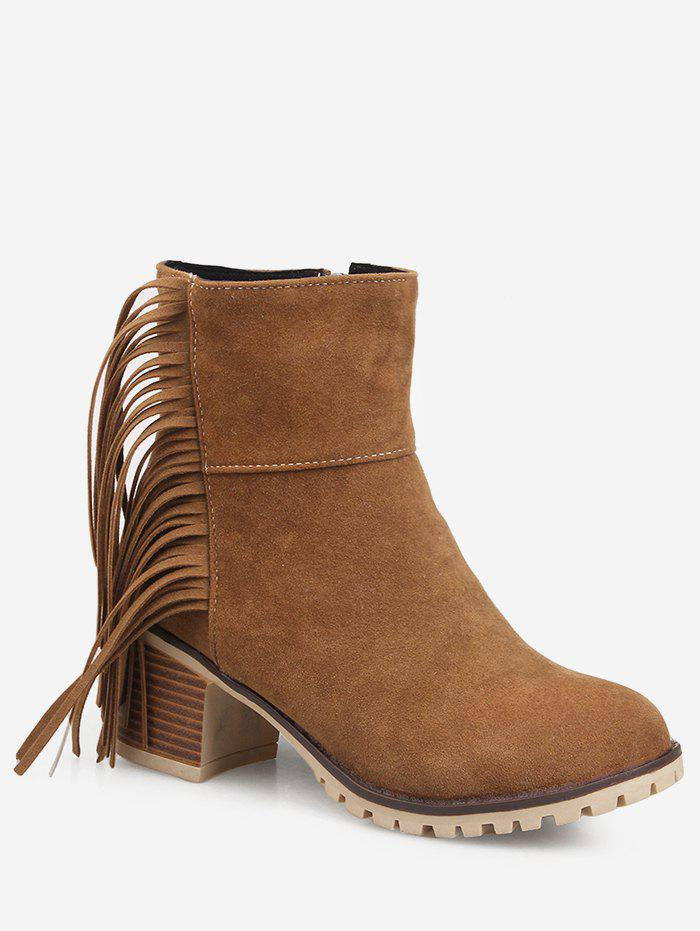 Sale Fringe Chunky Heel Suede Short Boots