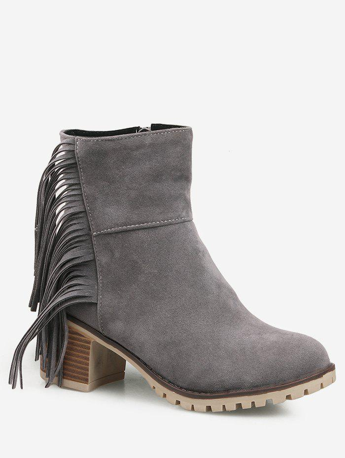 Hot Fringe Chunky Heel Suede Short Boots