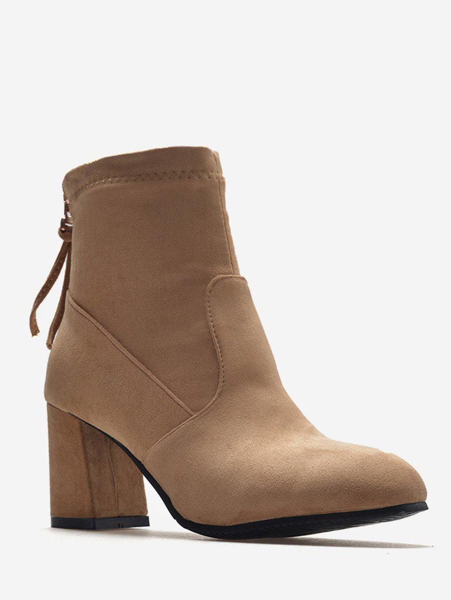 Hot Plus Size Back Zip Chunky Heel Ankle Boots