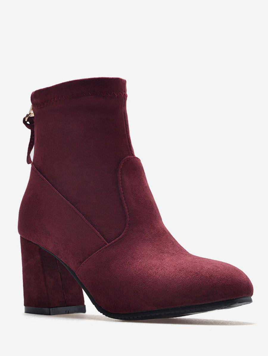 Cheap Plus Size Back Zip Chunky Heel Ankle Boots