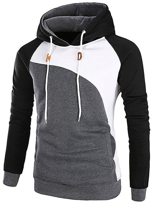 Buy Casual Color Blocking Pullover Hoodie