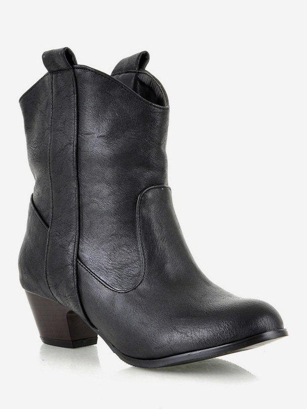 Cheap Plus Size Mid Heel PU Leather Short Boots