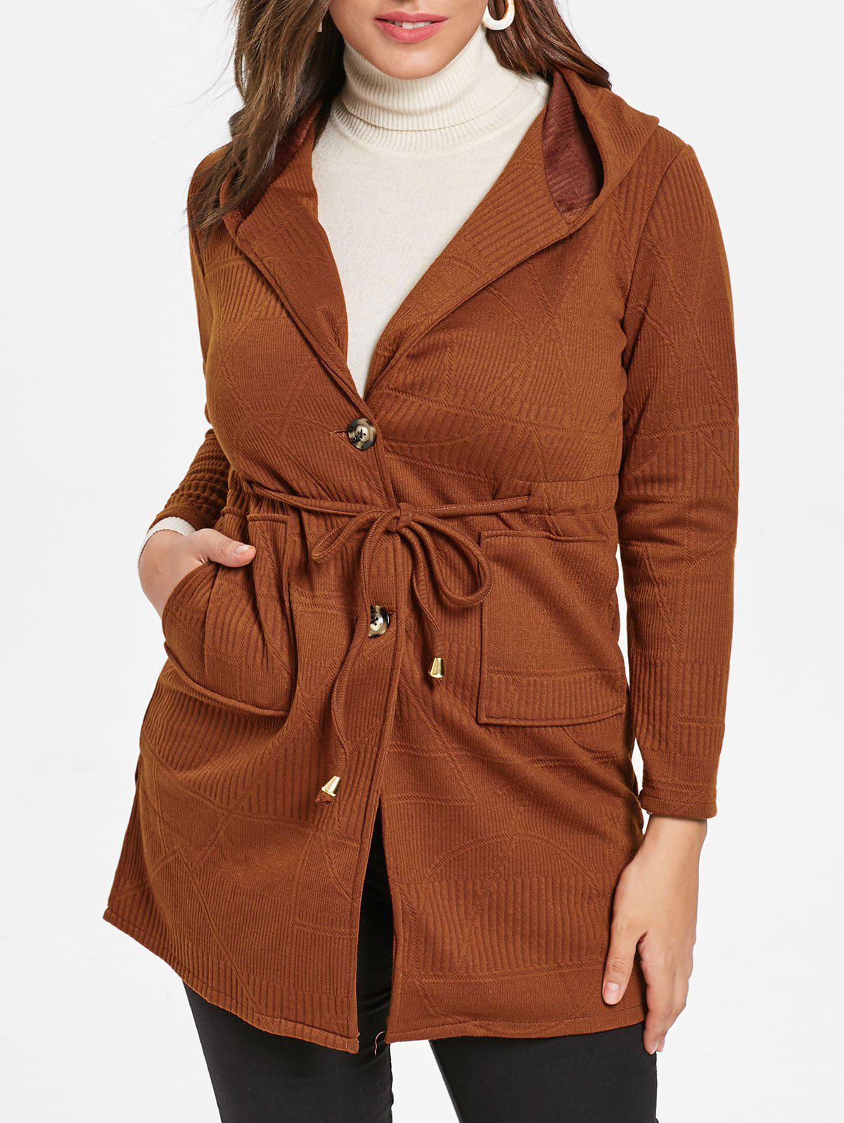 Outfit Drawstring Waist Plus Size Hooded Coat