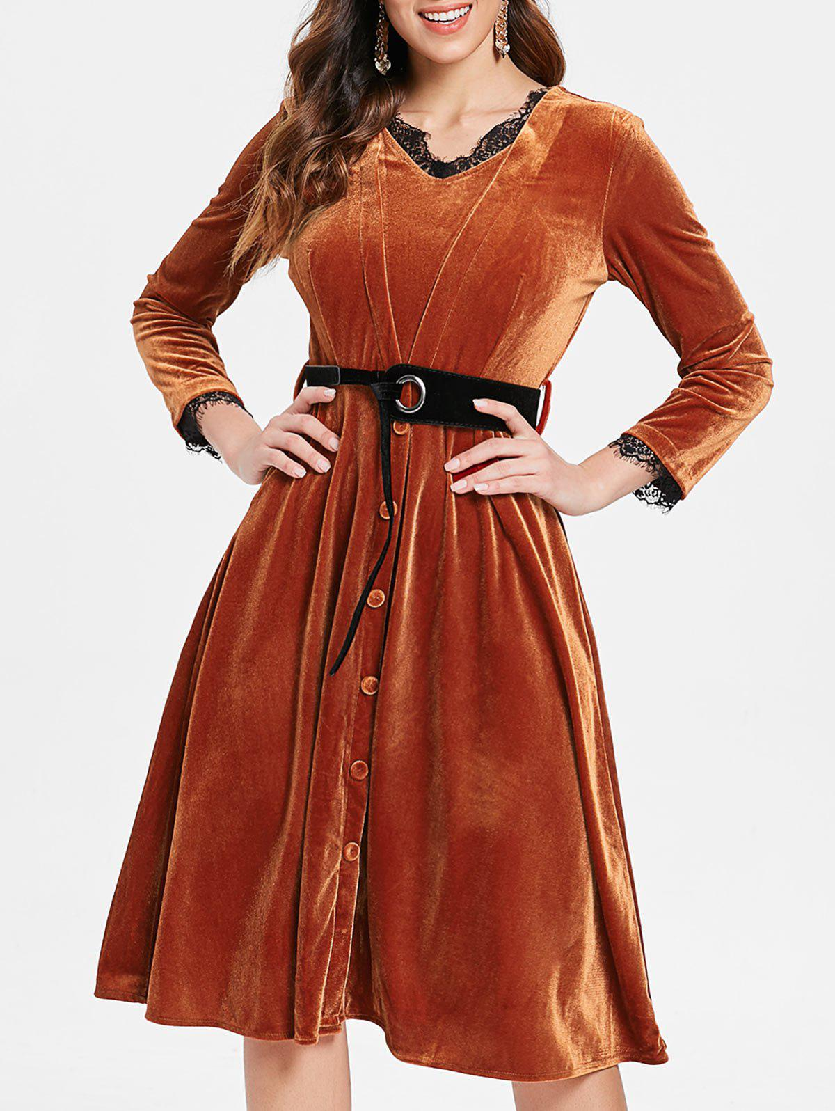 Outfit Long Sleeve Half Button Velvet Dress