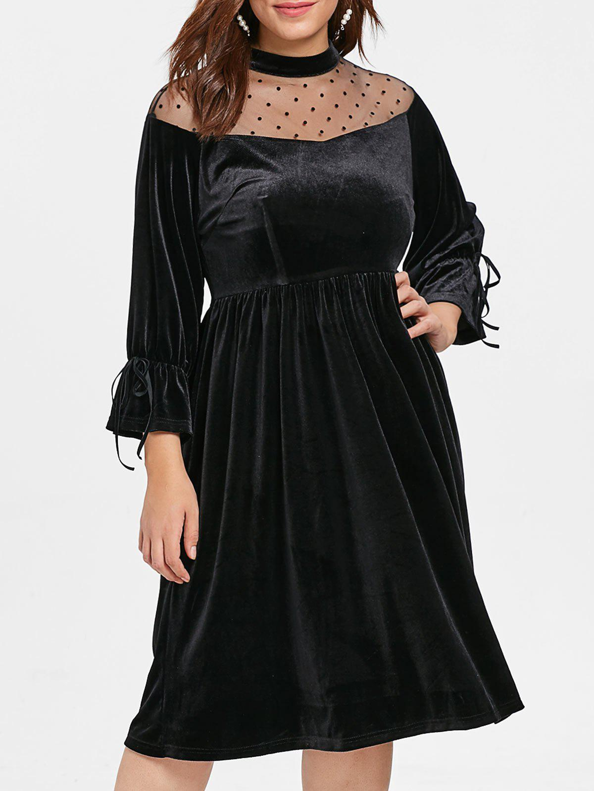Fancy Plus Size Mesh Yoke Velvet Dress