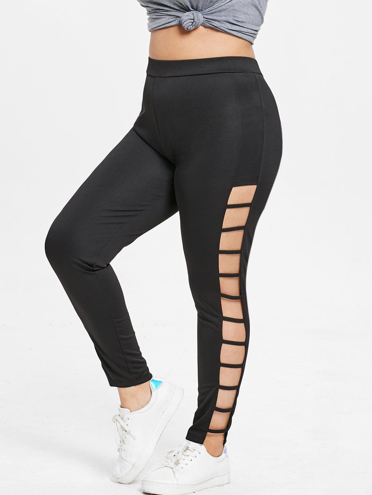 Trendy Plus Size Ladder Cut Out Leggings