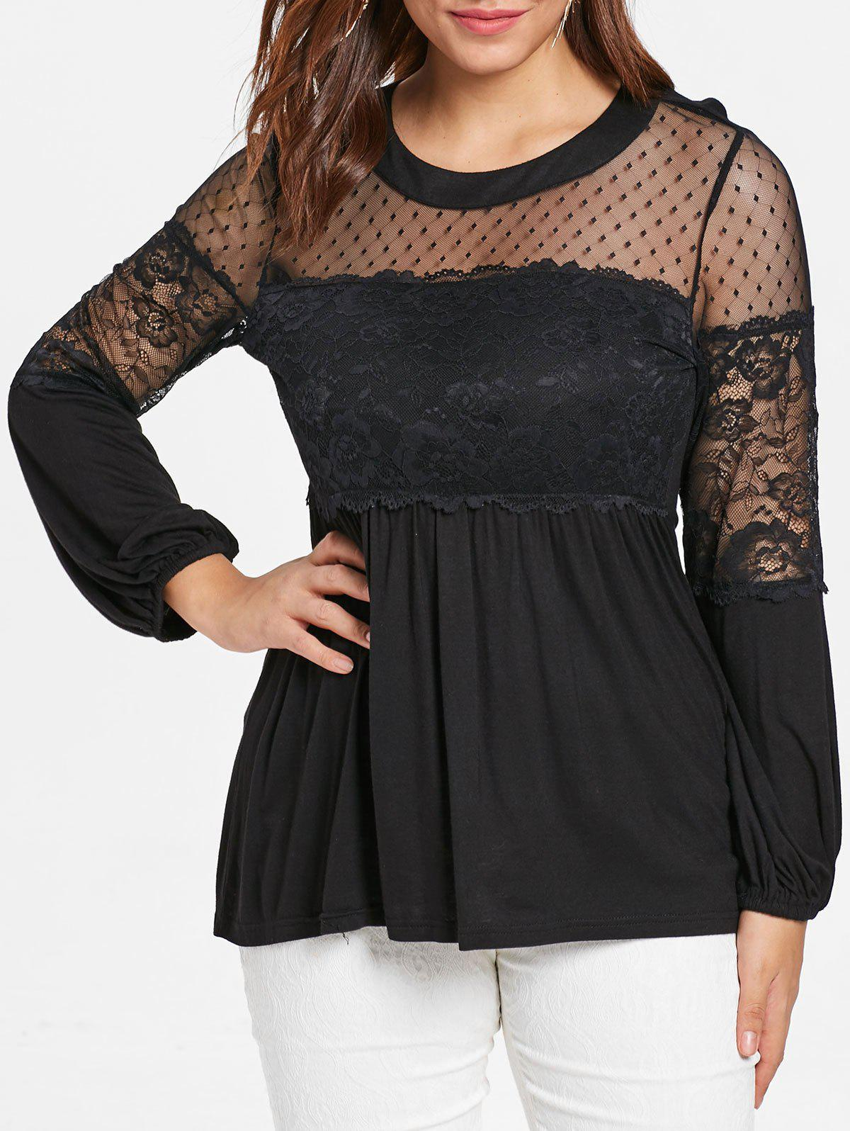 Buy Plus Size Lace Panel Lantern Sleeve T-shirt