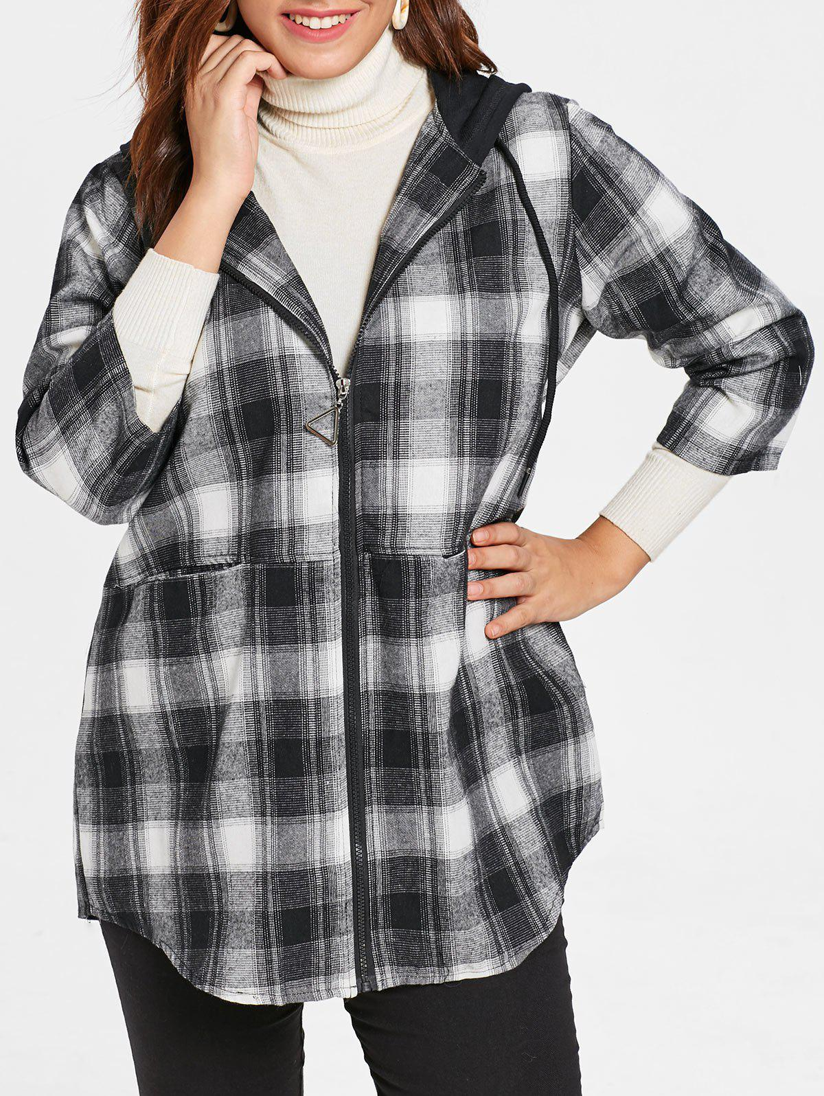 Outfit Plus Size Hooded Plaid Coat