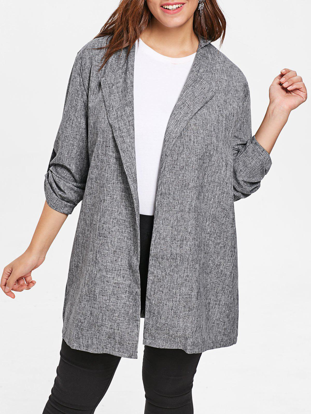 Discount Turn Down Collar Plus Size Wide Waisted Coat