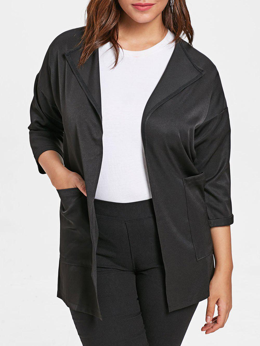 Sale Plus Size Front Pockets Turn Down Collar Coat