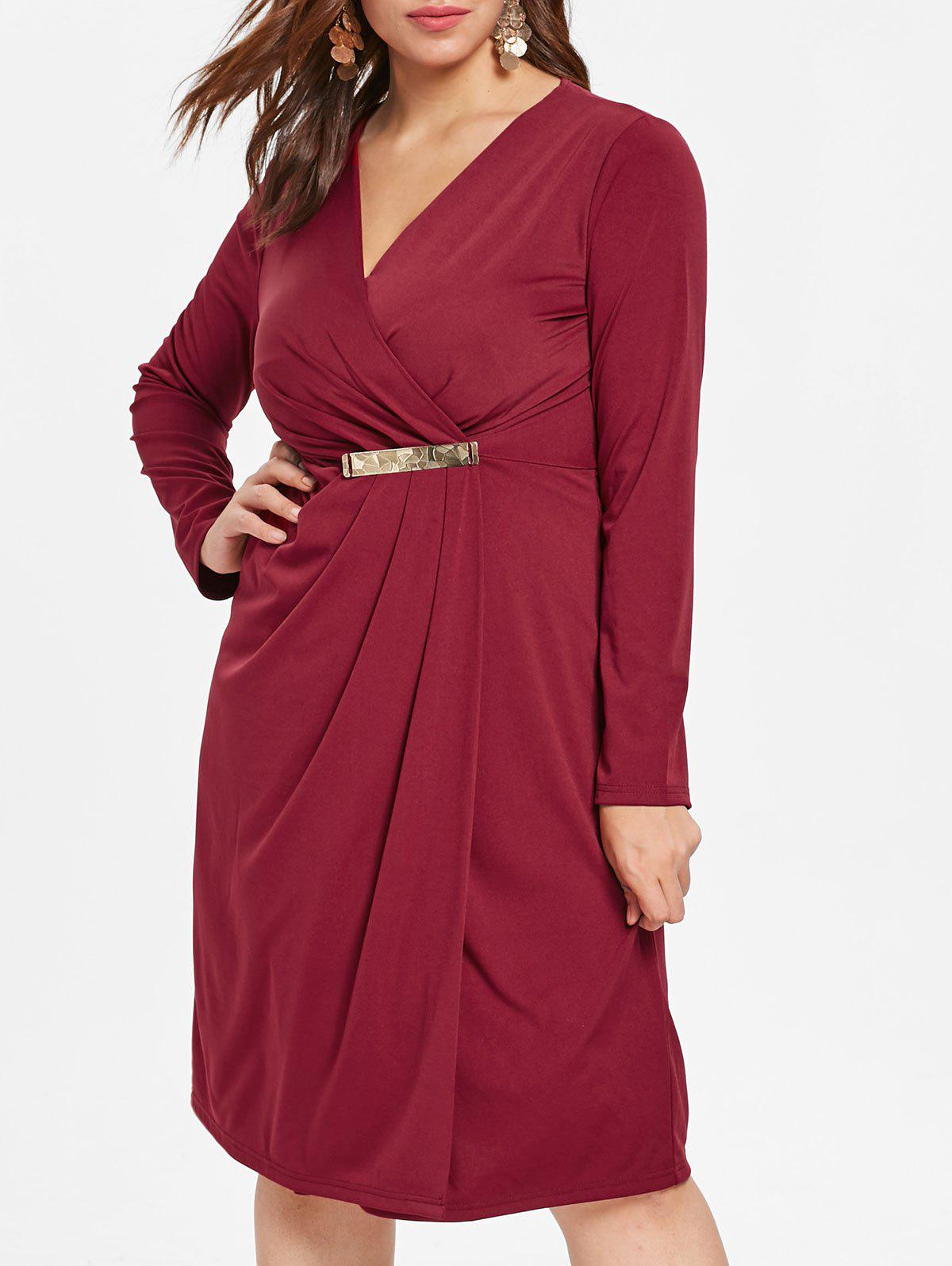 Discount Plus Size V Neck High Slit Dress