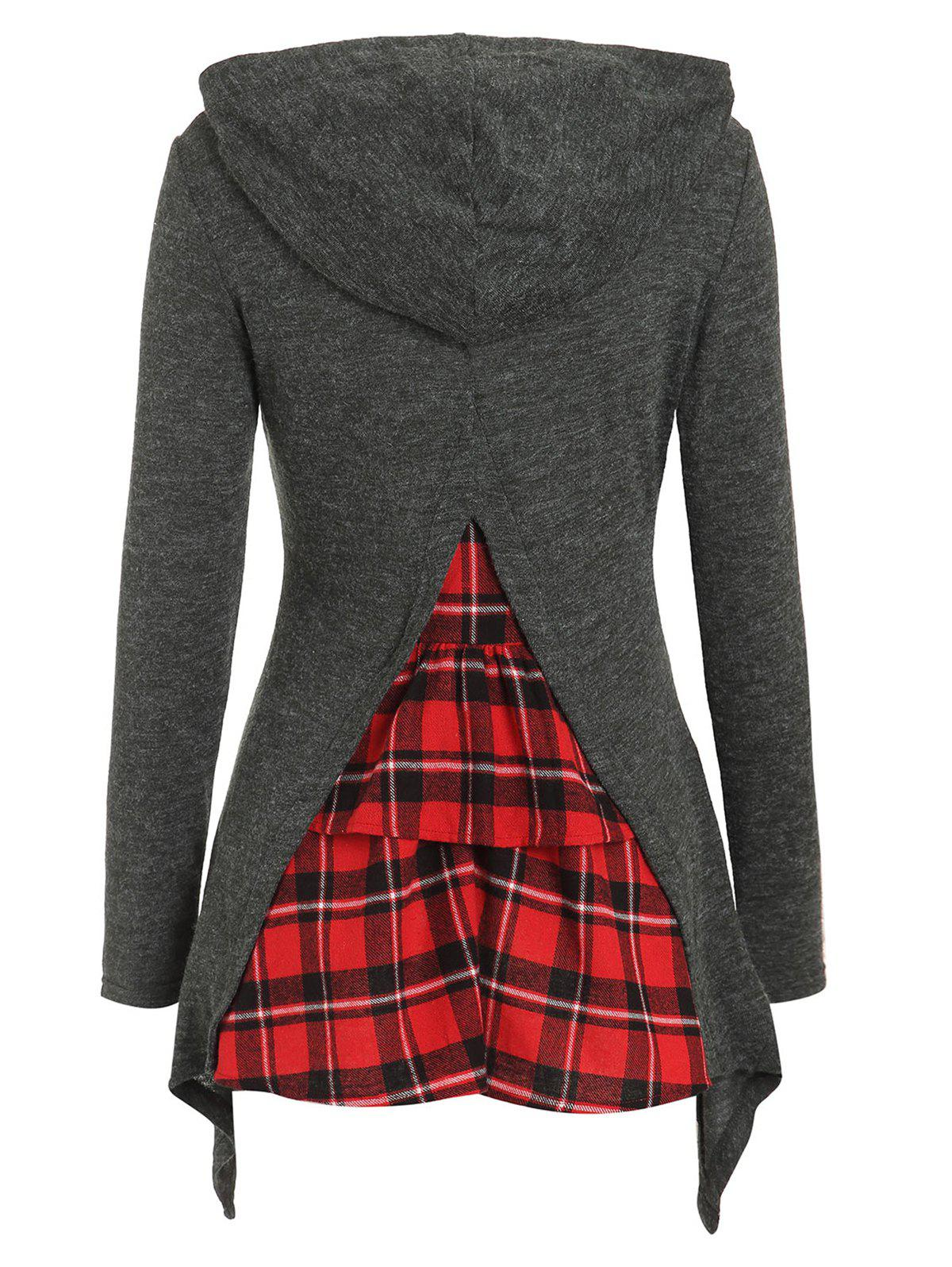 Buy Tartan Ruffles Insert Hooded Knitwear