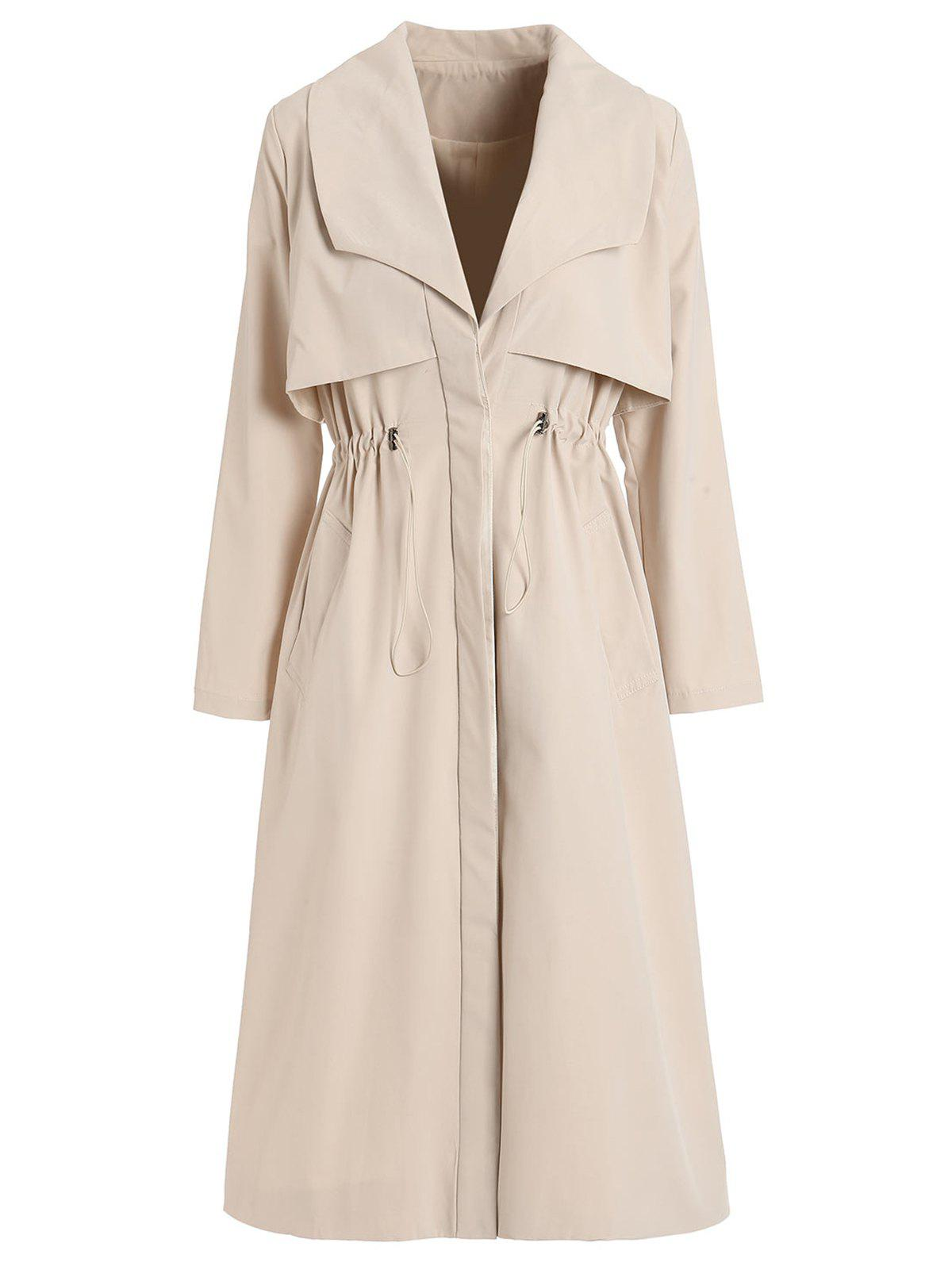 Buy Layered Drawstring Longline Trench Coat