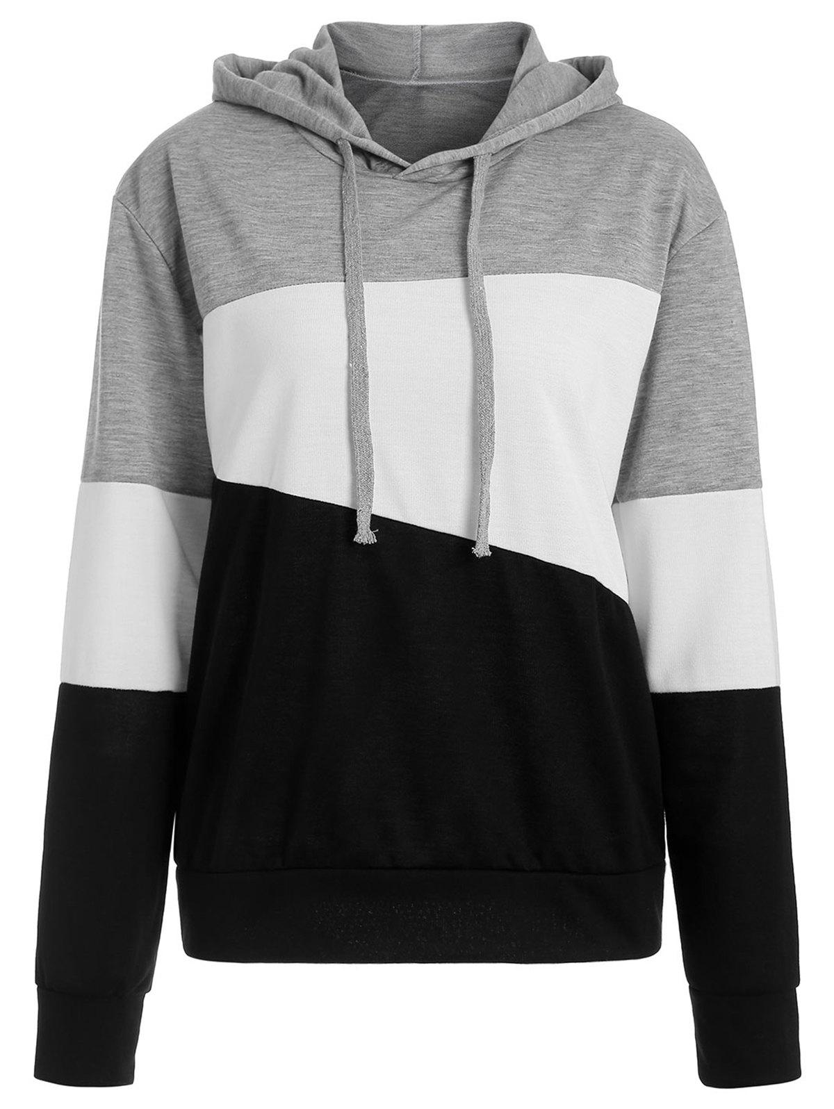 Affordable Pullover Drop Shoulder Hoodie with Color Block
