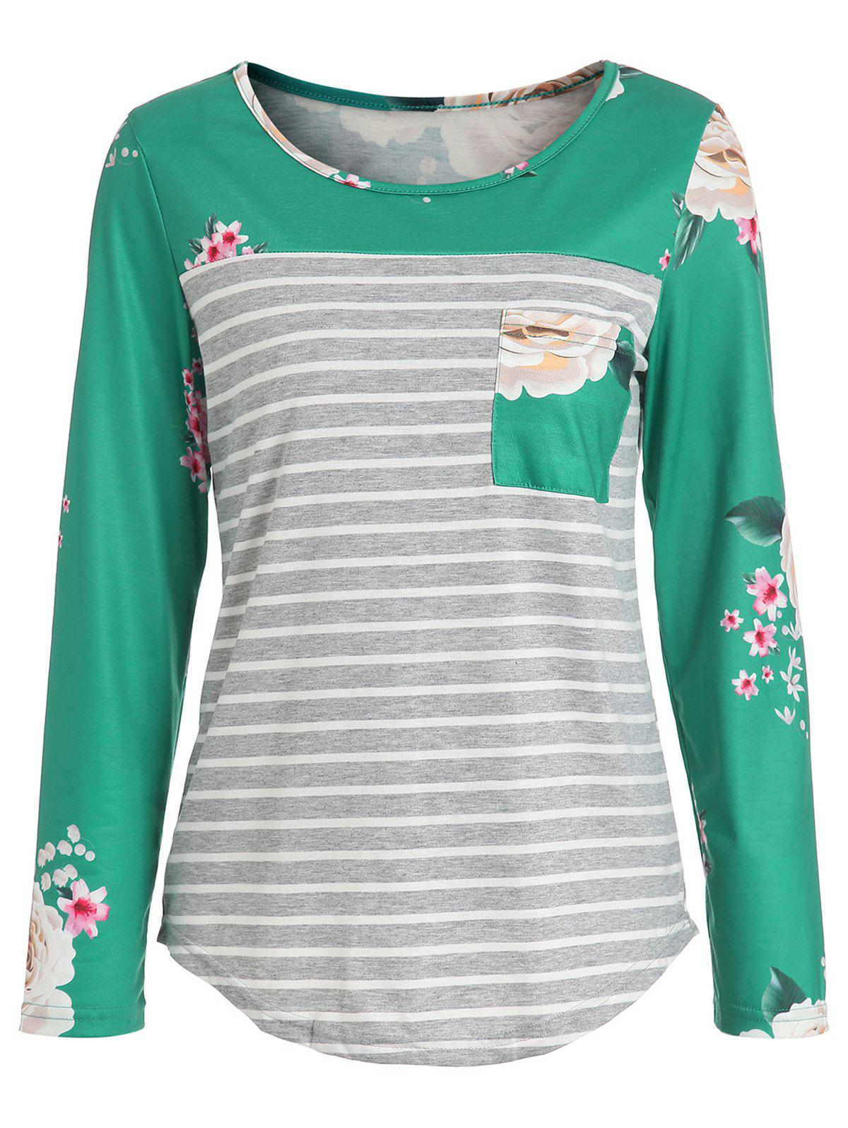 Chic Pocket Floral Stripes Long Sleeve Top