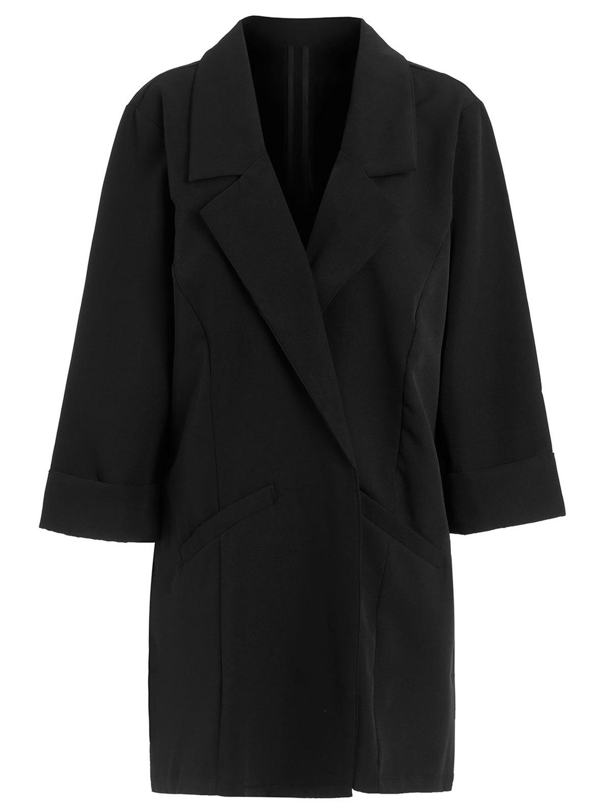 Latest Cuffed Sleeve Open Front Lapel Coat