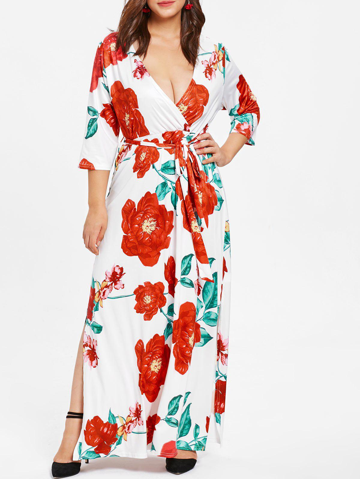 Best Surplice Neck Plus Size Floral Maxi Dress with Belt