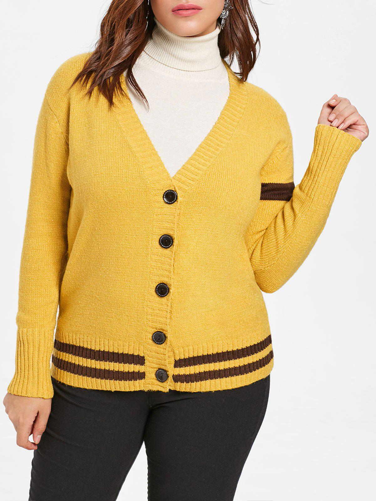 Trendy Plus Size Buttoned Sweater Cardigan