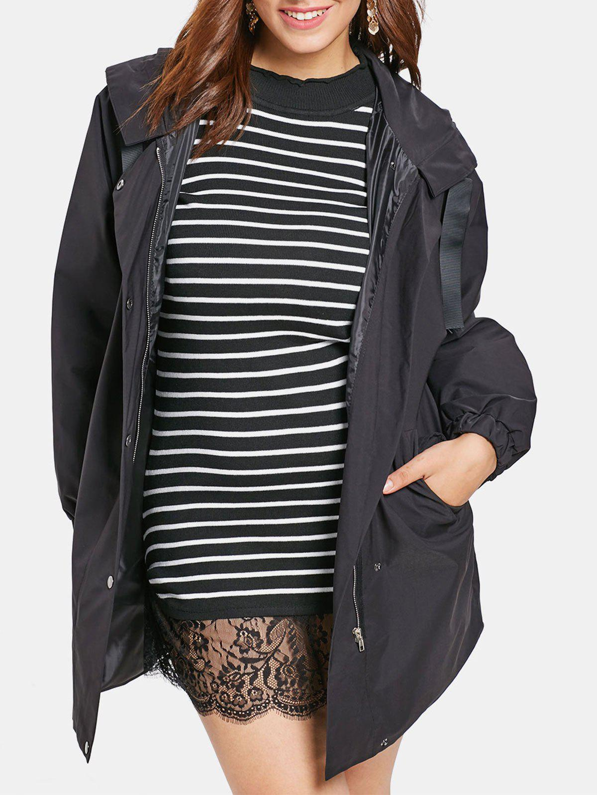 Cheap Plus Size Zipper Hooded Coat