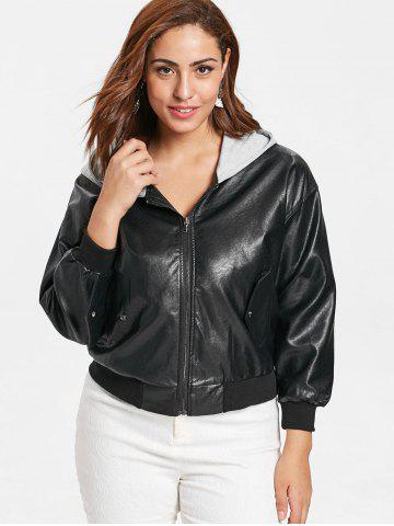 e75be8bfe6a Front Pockets Plus Size Faux Leather Zip Jacket