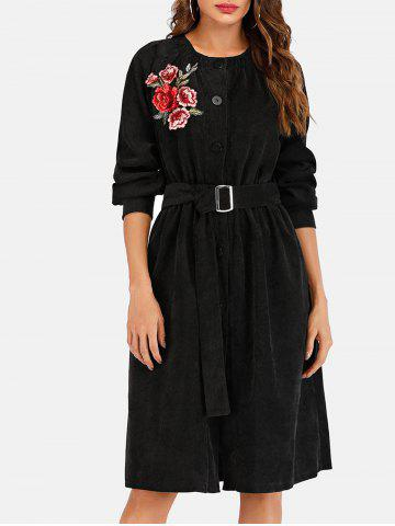 Belted Embroidery Corduroy Coat
