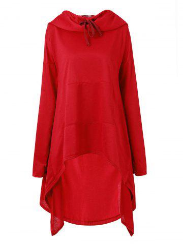 Funnel Collar Long Sleeve High Low Sweatshirt - RED - S