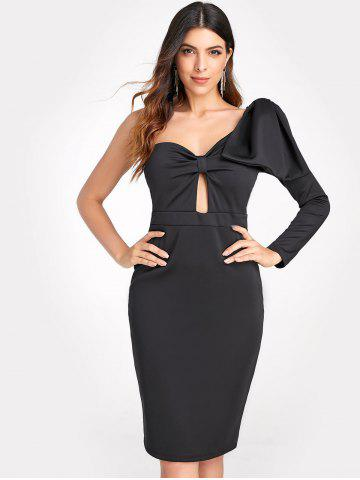 One Shoulder Front Knot Bodycon Dress