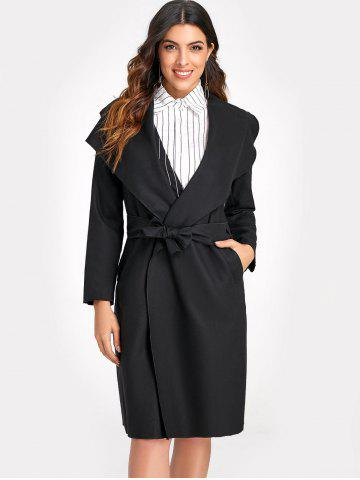 Belted Long Coat with Pockets