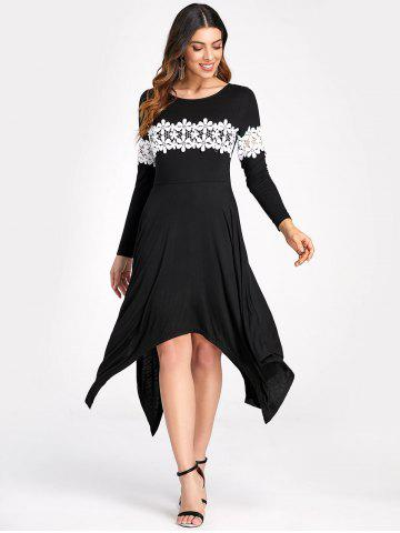 Lace Insert Long Sleeve Handkerchief Hem Dress