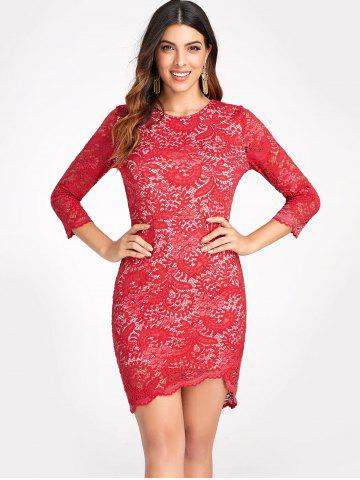 High Low Bodycon Lace Dress
