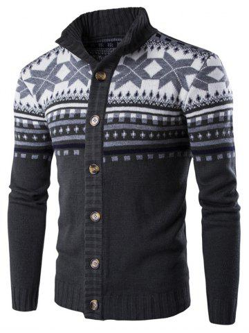 Geometric Snowflake Print Christmas Knitted Cardigan - DARK SLATE GREY - L