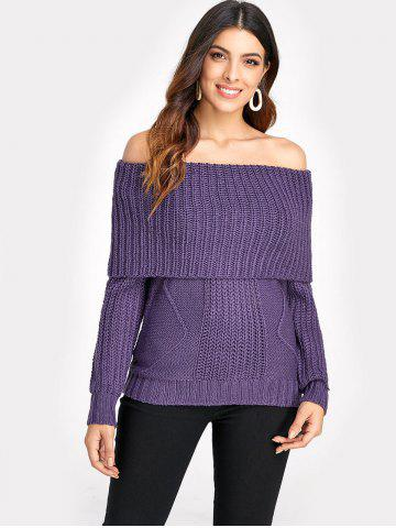 Off Shoulder Plain Cable Knit Sweater