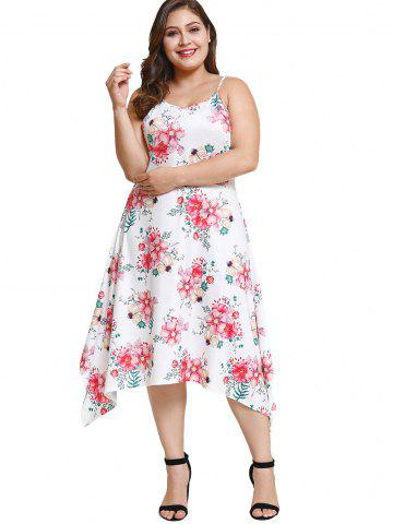 Plus Size Floral Sleeveless Asymmetric Dress