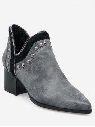 Plus Size Studded Chunky Heel Ankle Boots -