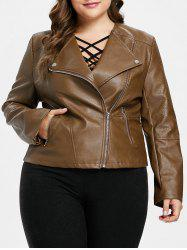 Zipper Embellished Plus Size Biker Jacket -