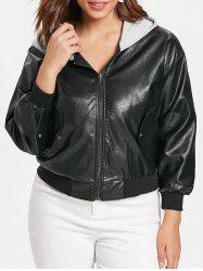 Front Pockets Plus Size Faux Leather Zip Jacket -